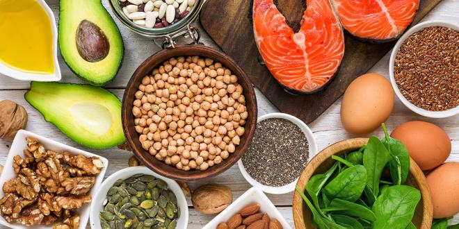 Foods rich in omega fatty acids, such as seeds, salmon, and avocado